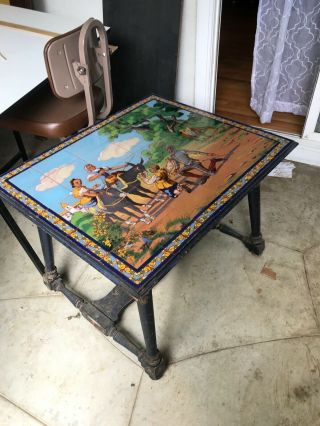 Antique Tile Top Table Mission Arts