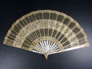 Elegant Antique 19 Thc French Hand Fan Lace And Mother Of Pearl By Ernest Kees