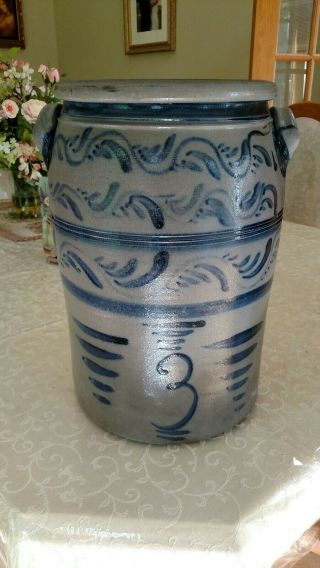 Decorated stoneware crock - Greensboro Pa 2