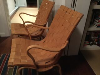 Signed,  Vintage,  Midcentury,  Woven Bruno Mathsson Eva Chairs