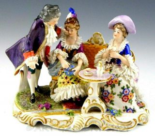 Antique Germany Group Figurine Volkstedt Dresden Lace Victorian Tea Party