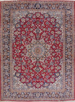 Vintage Hand - Knotted Traditional Floral Oriental 10 X 14 Wool Area Rug Carpet
