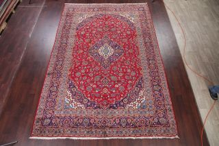 Vintage Traditional Floral Vibrant Red Oriental Area Rug Hand - Knotted Wool 8x12