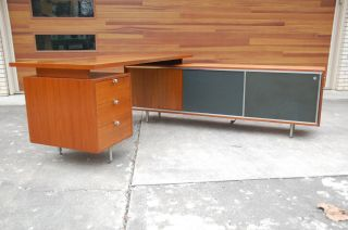 Mid Century Modern George Nelson For Herman Miller Executive Desk & Credenza