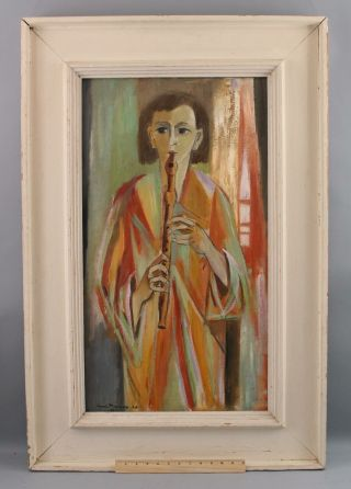Authentic Canadian Henri Masson Modernist Musician Recorder Flute Oil Painting