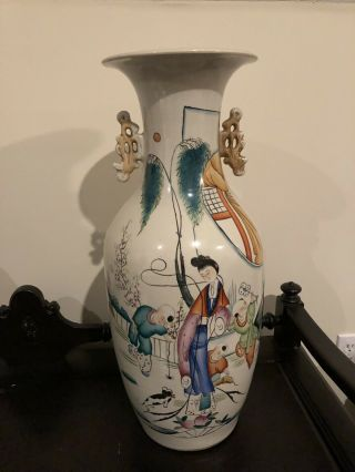 "Large Antique Chinese Porcelain Famille Rose Vase,  Republic Period,  22 1/2 "" H"