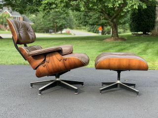 Eames Herman Miller Lounge Chair & Ottoman - Rosewood & Brown Leather