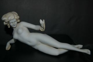 """Antique 7 """" Bathing Beauty Nude Bisque Figurine Doll Germany? Holds Mirror Pearls"""
