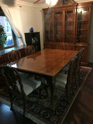 Karges ball and claw walnut dining room table,  chairs and breakfront 10