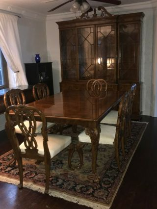 Karges Ball And Claw Walnut Dining Room Table,  Chairs And Breakfront