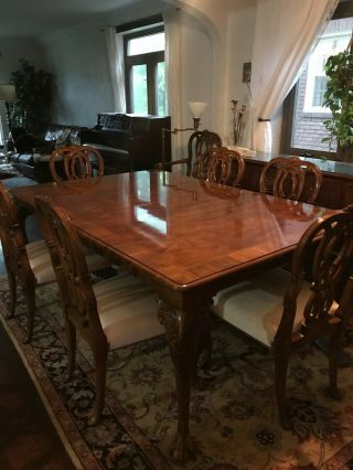 Karges ball and claw walnut dining room table,  chairs and breakfront 3