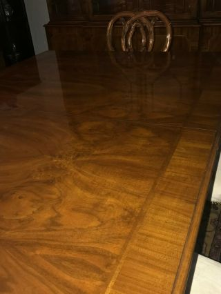Karges ball and claw walnut dining room table,  chairs and breakfront 4