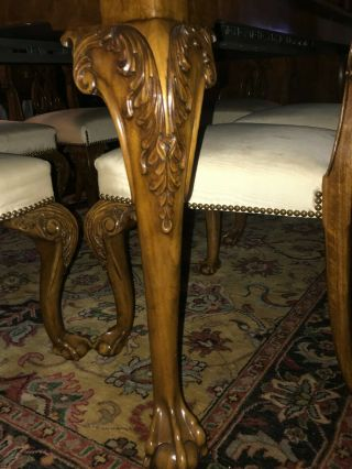 Karges ball and claw walnut dining room table,  chairs and breakfront 8