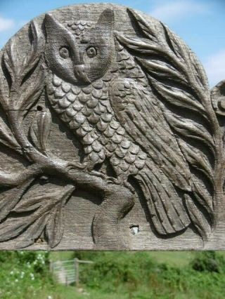 19thc Gothic Relief Carved Oak Panel Of Owl On Tree