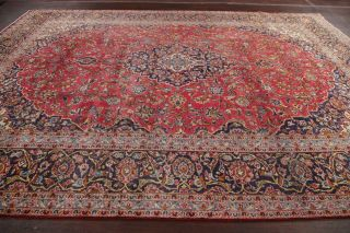 Vintage 10x13 Traditional Floral Oriental Area Rug Hand - Knotted Red Wool Carpet