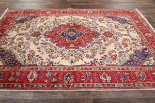 Vintage Geometric Ivory Traditional Oriental Area Rug Hand - Knotted Wool 7