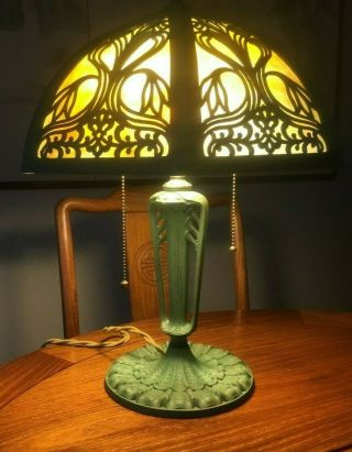 No Reserve: Antique Arts & Crafts Miller Slag Glass Desk Lamp