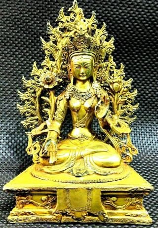 Large Antique Chinese Gold Gilt Tibetan God Buddha Statue Stand 10 Inches Tall
