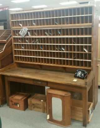 Vintage Oak Post Office Sorter - Early 1900