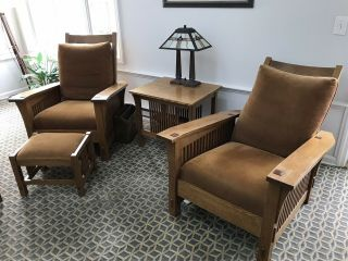Stickley Bostle Back Spindle Morris Recliners
