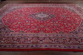 10x13 Vintage Traditional Floral Oriental Area Rug Hand - Knotted Wool Red Navy
