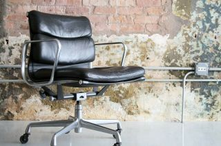 Eames For Herman Miller Soft Pad Leather Desk Chair Mid Century Modern