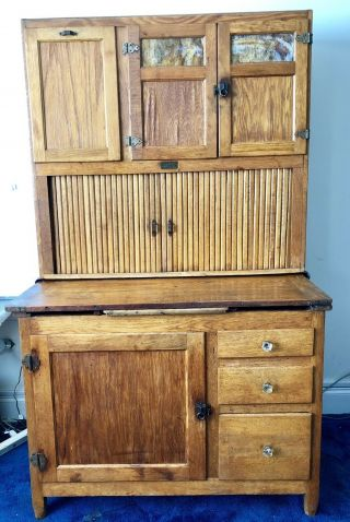 Antique Sellers Oak Hoosier Cabinet With Flour Sifter,  Sugar Bin,  More