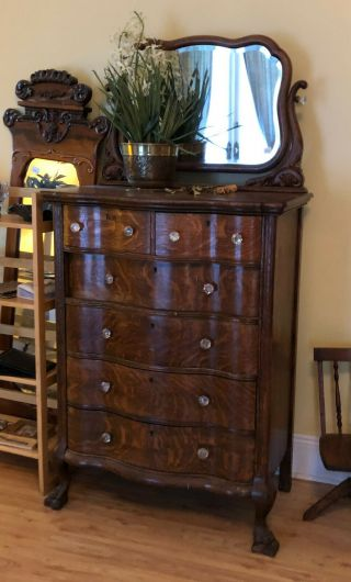 Ch035: American Tall Chest Of Drawers With Mirror Local Pickup