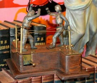 Antique Boxing Ringside Toy Iron Bronze Mechanical Automaton Box Rare