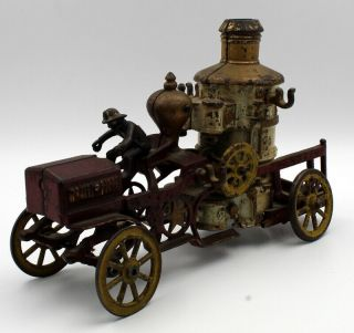 Antique Cast Iron Toy Fire Engine With Water Pump & Driver Rare Nr 5938