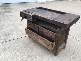 Primitive 3 Drawer Vise Work Bench Table Very Old