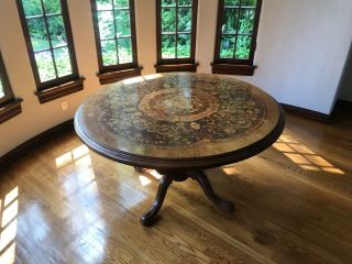 Round Marquetry Entry Table