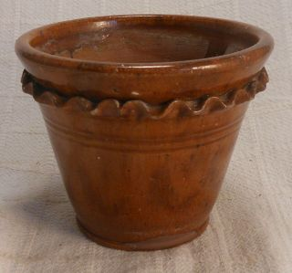 Early American Pennsylvania Redware Plant Pot With Crimped Decoration