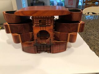 Po Shun Leong 1993 Hand Crafted Wood Jewelry Box Signed 1993 3