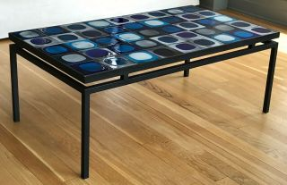 Coffee table with vintage Roger Capron tiles in a black,  floating metal frame 2