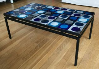 Coffee table with vintage Roger Capron tiles in a black,  floating metal frame 3