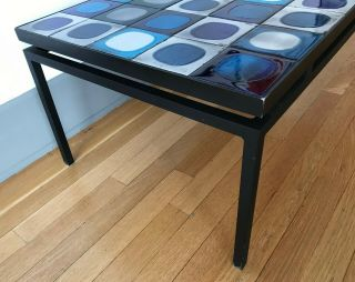 Coffee table with vintage Roger Capron tiles in a black,  floating metal frame 4