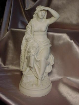 Vintage Parian Statue Of Classical Woman Sitting On A Pedestal