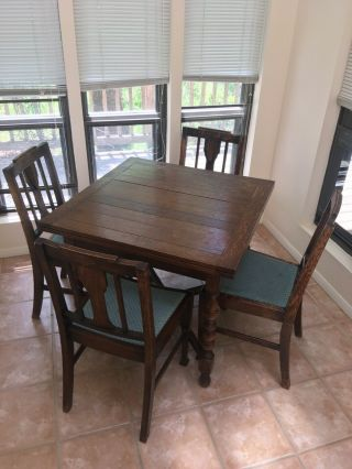 Antique Oak Drawleaf English Breakfast Kitchen Dining Table W/4 Chairs