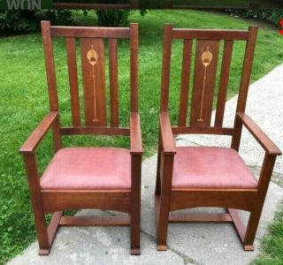 2 L & Jg Stickley Armchairs Arts & Crafts Style,  Harvey Ellis Inlay,  Leather Seats