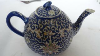 Very Fine Antique Chinese Porcelain Teapot With Flowers And Bats Design Signed