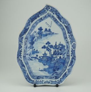 Antique Chinese Blue And White Porcelain Leaf Shape Tray Dish Plate 18th C Qing