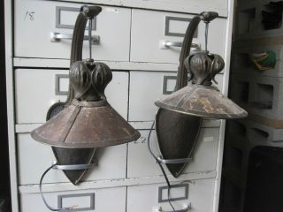 Matching Victorian Bronze Wall Sconces Each Sconce Has A Mica Shade