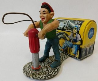 ULTRA RARE 1950 ' s GESCHA (Western Germany) Tin Wind - up COMPRESSOR MAN 556 Toy 2