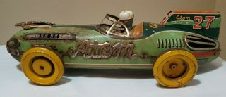 Vtg 1950s 1955 Yonezawa Atom 27 Jet Racer Tin Litho Friction Race Car Toy Japan
