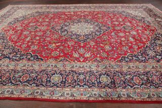 10x13 Antique Floral Traditional Area Rug Red Oriental Hand - Knotted Wool Carpet