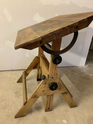 Antique Drafting Table Oak Cast Iron Hamilton? Industrial Engineering Art Office