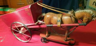Extremely Rare Antique Schoenhut Articulated Horse Pull Toy Wagon