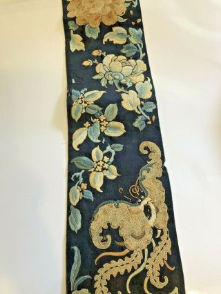 Antique Chinese Silk Embroidered Fabric Panel Wall Hanging Tassel 1850 3