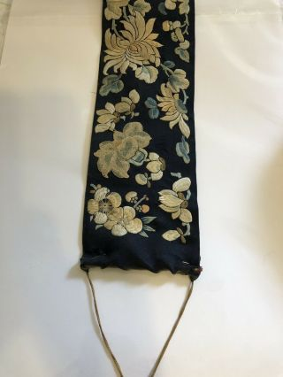 Antique Chinese Silk Embroidered Fabric Panel Wall Hanging Tassel 1850 4